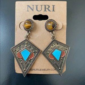 Bronze Diamond Turquoise Earrings NWT